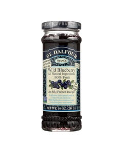 St Dalfour Fruit Spread - Deluxe - 100 Percent Fruit - Wild Blueberry - 10 oz - Case of 6