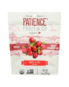 Patience Fruit and Co Dried Cranberry - Organic - Whole - Soft - Case of 8 - 5 oz