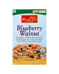 Peace Cereal Organic Flakes and Clusters - Blueberry Walnut - Case of 6 - 11 oz.