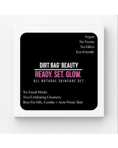 Dirt Bag Beauty Facial Masks + Exfoliating Cleansers  8 Piece Box Set- For Oily, Combo, Acne Prone Skin Types - Count 1