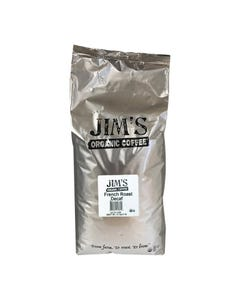 Jim's Organic Coffee Whole Bean French Roast Decaf - Single Bulk Item - 5LB